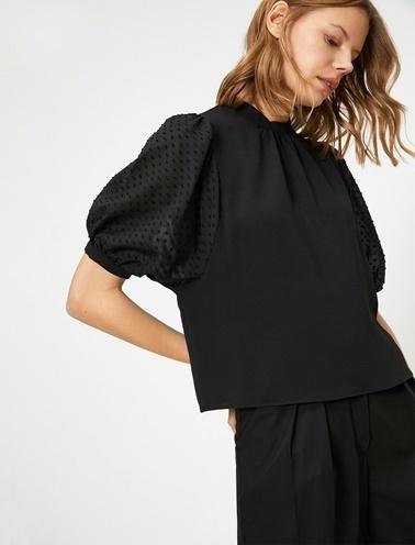 Koton Yaka Detayli Bluz Siyah